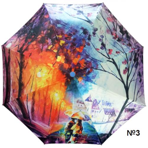 Женский зонт-автомат с принтом